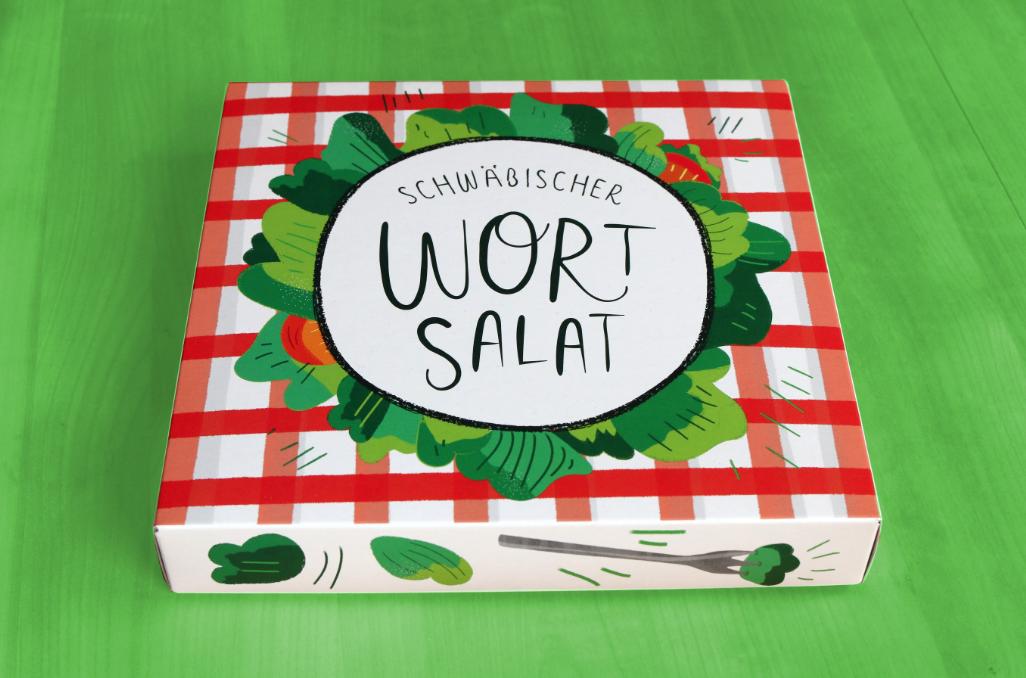 Die Schachtel des Schwäbischen Wortsalats auf gründem Grund.